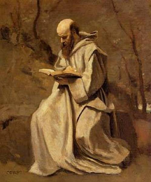 Monk in White Seated Reading 1857